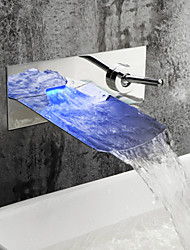 Mitigeur de Lavabo LED à Couleurs Variables, Finition Chromée, Fxation Murale