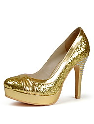 Tasteful Glitter Platform Pumps with Rhinestone and Ruffle Party Shoes(More Colors)
