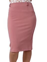 RIVER Frauen elegante OL Stil Pure Color Hälfte Röcke Pink (mit Größe)