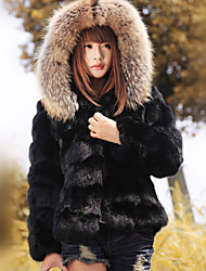 Long Sleeve Hooded Rabbit Fur Party/Casual Jacket(More Colors)