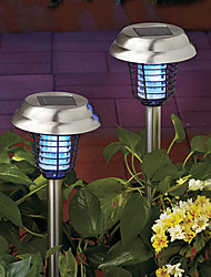 Set Of 2 Solar Stainless Steel Mosquito Zapper Stake Light Garden Path Lighting(Cis-57189)