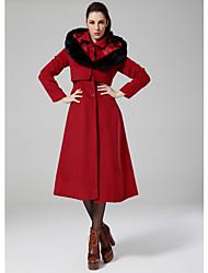женская элегантный отворот с капюшоном с поддельным волосяного покрова