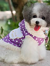 Dog Coat Pink / Purple Dog Clothes Spring/Fall Polka Dots