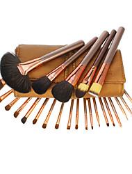 24PCS Ouro Coffee couro de alta qualidade jogo de escova cosmético