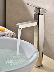 Contemporary Vessel Single Handle One Hole in Nickel Brushed Bathroom Sink Faucet