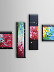 Hand Painted Oil Painting Abstract with Stretched Frame Set of 4 1309-AB1007