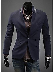 RR BUY Men Cyan Pocket Design One Button Tailored Collar Jacket