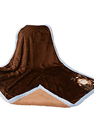 Supersoft peluche courte + Lamb Double Layer Singe noir Baby Blanket