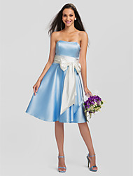 Knee-length Satin / Stretch Satin Bridesmaid Dress-Plus Size / Petite A-line Strapless