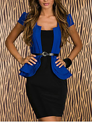 Women's Color Block Blue Dress , Work/Bodycon Square Neck Short Sleeve Ruffle