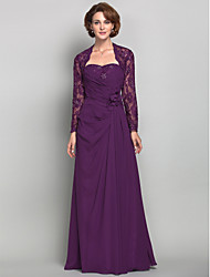 Sheath/Column Plus Sizes / Petite Mother of the Bride Dress - Grape Floor-length Long Sleeve Chiffon / Lace