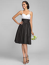 Knee-length Taffeta Bridesmaid Dress - Multi-color Plus Sizes / Petite A-line / Princess Spaghetti Straps