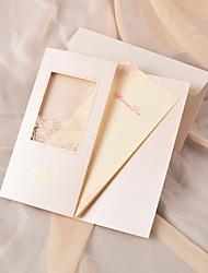 Personalized Ivory Exquisite Laser Cut Rose Wedding Invitation-Set of 50