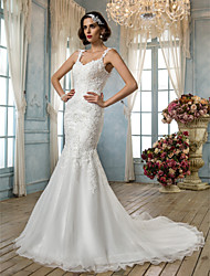Lan Ting Trumpet/Mermaid Plus Sizes Wedding Dress - Ivory Court Train Spaghetti Straps Tulle/Lace