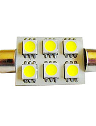 42mm High Power 6 SMD LED Festoon Dome Bulb White 12 Volt DC 1Pair