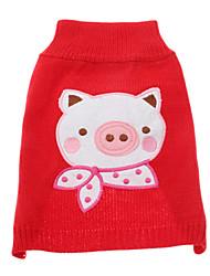 Perros Suéteres Rojo Invierno Bordado