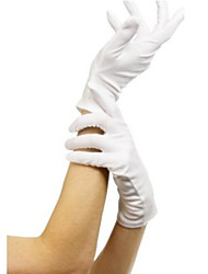 Short White Terylene Halloween Gloves for Women Halloween Props Cosplay Accessories
