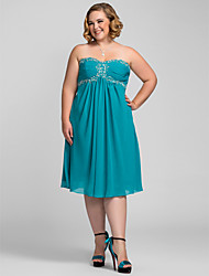 TS Couture Plus Size Cocktail Party Homecoming Holiday Dress - Open Back / A-line Strapless / Sweetheart Knee-length Chiffon