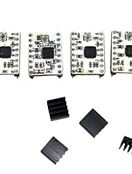 Stepstick A4988 Stepper Motor Driver Kit Módulo w / Heat Sink - Blanco + Negro (4 PCS)
