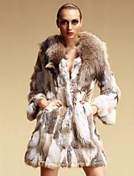 Long Sleeve Shawl Rabbit Fur&Raccoon Fur Party/Casual Coat