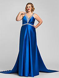 Military Ball/Formal Evening Dress - Royal Blue Plus Sizes A-line Halter/V-neck Floor-length Satin