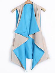 Azul Algodão Cor emenda Vest elegante CBRL da Mulher