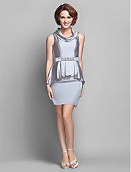 Sheath/Column Plus Sizes / Petite Mother of the Bride Dress - Silver Knee-length Sleeveless Satin Chiffon