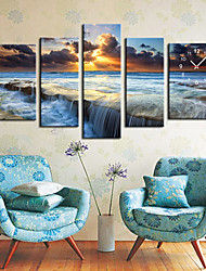"35"" Ocean Wall Clock In Canvas 5pcs"
