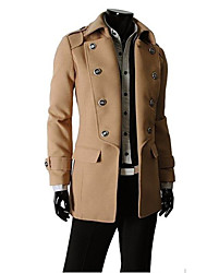 Men'S Lapel Double Breasted Trench Coat
