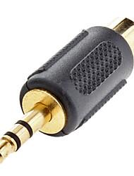 3,5 mm estéreo macho a RCA hembra adaptador Composite Negro para Musical