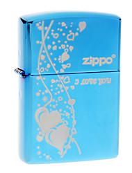 Zippo Blue I Love You Pattern Metal Windproof Oil Lighter