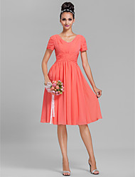 Lanting Bride Knee-length Chiffon Bridesmaid Dress Sheath / Column V-neck Plus Size / Petite with Draping / Ruching