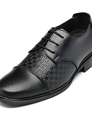 LPPN Black Vintage Weave Leather Men Formal Shoes