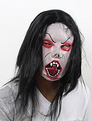 Schwarzes Haar und roten Augen Halloween Zombie Maske