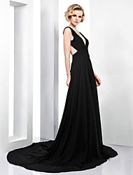 TS Couture Formal Evening Dress - Beautiful Back A-line V-neck Court Train Chiffon with Side Draping