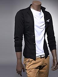 Men's Solid Casual Shirt Long Sleeve Black / Gray
