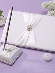 Chic Wedding Guest Book And Pen Set In Ivory Satin With Sash And Rhinestones Sign In Book