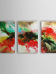 Hand Painted Oil Painting Abstract Flowing Colors with Stretched Frame Set of 3 1310-AB1227
