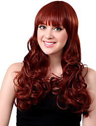 Capless Long Synthetic Red Curly Hair Wig Full Bang