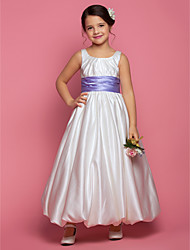 A-line / Princess Ankle-length Flower Girl Dress - Satin Sleeveless Square with Sash / Ribbon / Side Draping / Ruching