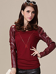 PARGO Long Sleeve Solid Lace colore cuciture Top Slim (Red)