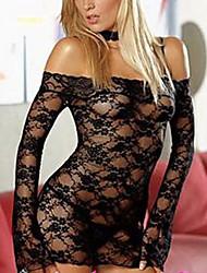 Long Sleeve Black Lace Bare Shoulder Sexy Lingerie