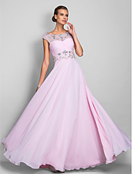 Homecoming Prom/Military Ball/Formal Evening Dress - Blushing Pink Plus Sizes A-line Scoop Floor-length Chiffon