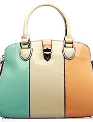 PU Couro Moda Contraste cor da superfície brilhante OPPO Mulher Totes Bags Crossbody