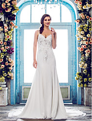 Lanting Bride® Trumpet / Mermaid Petite / Plus Sizes Wedding Dress - Classic & Timeless / Elegant & Luxurious Court Train Spaghetti Straps
