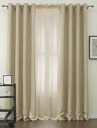 dois painéis folha concurso cortinas blackout com pura conjunto