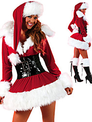 Red Fluffy Dress Women's Christmas Costume
