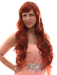 Capless Mixed Hair Long Wavy Auburn Red Hair Wigs