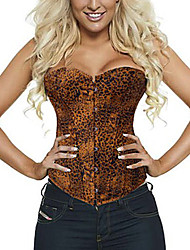 Luanfang Women's Imitation Leather Leopard Print Corset