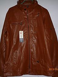 Brown PU Casual stand de manteau de collier de lavage de Midoo hommes